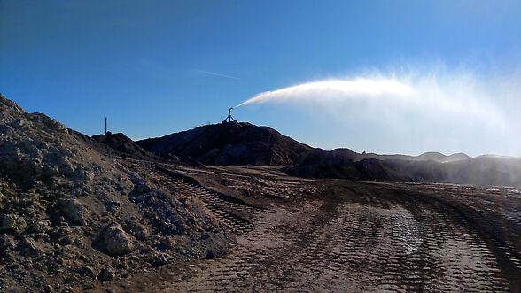 Big Gun® Sprinkler controlling dust at a quarry.