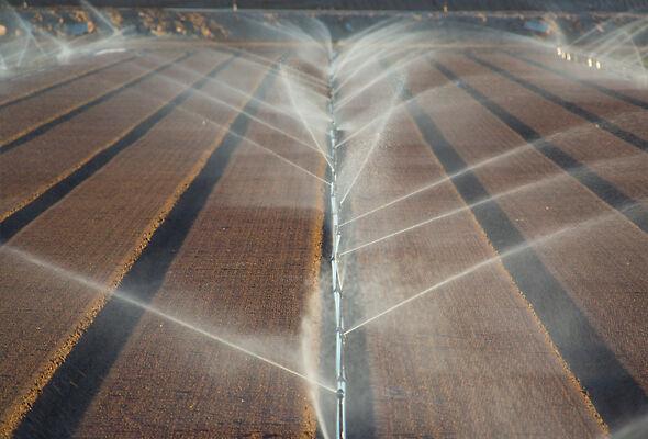 R2000WF Rotator Sprinklers on aluminum pipe in California.